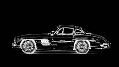 Mercedes Automobile Drawing - Mercedes-benz 1956 Gullwing by Susanna Penny Jerome
