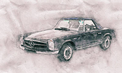 Transportation Mixed Media - Mercedes-Benz 280SL Roadster 1 - 1967 - Automotive Art - Car Posters by Studio Grafiikka