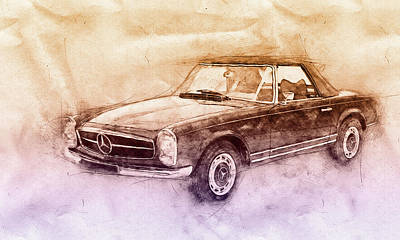 Transportation Mixed Media - Mercedes-Benz 280SL Roadster 2 - 1967 - Automotive Art - Car Posters by Studio Grafiikka