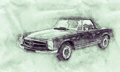 Transportation Mixed Media - Mercedes-Benz 280SL Roadster 3 - 1967 - Automotive Art - Car Posters by Studio Grafiikka
