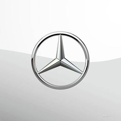 Digital Art - Mercedes-benz 3 D Badge Special Edition On White by Serge Averbukh