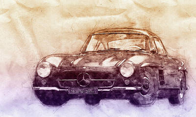 Mixed Media - Mercedes-benz 300 Sl 2 - Grand Tourer - Roadster - Automotive Art - Car Posters by Studio Grafiikka