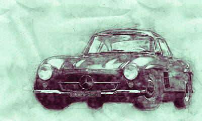 Mixed Media - Mercedes-benz 300 Sl 3 - Grand Tourer - Roadster - Automotive Art - Car Posters by Studio Grafiikka