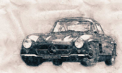 Mixed Media - Mercedes-benz 300 Sl - Grand Tourer - Roadster - Automotive Art - Car Posters by Studio Grafiikka