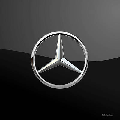 Vintage Hood Ornament Digital Art - Mercedes-benz - 3d Badge On Black by Serge Averbukh