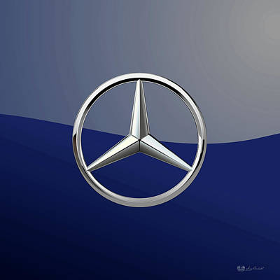 Digital Art - Mercedes-benz 3d Badge Special Edition On Blue by Serge Averbukh