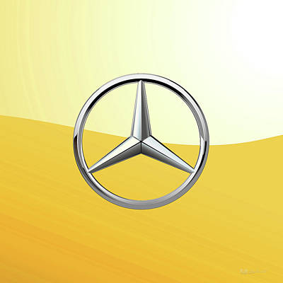 Digital Art - Mercedes-benz 3d Badge Special Edition On Yellow by Serge Averbukh