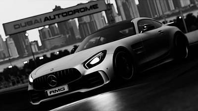 Photograph - Mercedes-benz Amg Gtr - Monochrome In Dubai by Andrea Mazzocchetti