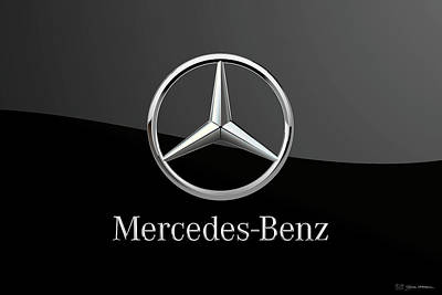 Digital Art - Mercedes-benz Badge - Luxury Edition On Black by Serge Averbukh