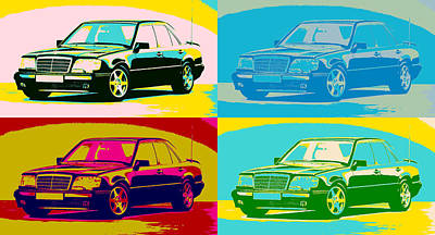 Mixed Media - Mercedes Benz E 500 Pop Art Panels by Dan Sproul