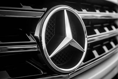 Photograph - Mercedes-benz Emblem -ck0036bw by Jill Reger