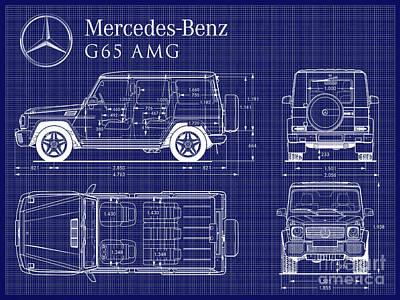 Mercedes Benz G-65 Blueprint Art Print by Jon Neidert