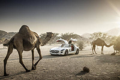 Photograph - Mercedes Benz Sls Amg Camels by George Williams