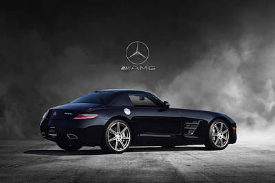 Hand-built Digital Art - Mercedes Benz Sls Amg by Peter Chilelli