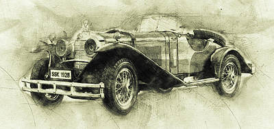 Transportation Mixed Media - Mercedes-Benz SSK 1 - 1928 - Automotive Art - Car Posters by Studio Grafiikka