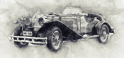 Transportation Mixed Media - Mercedes-Benz SSK - 1928 - Automotive Art - Car Posters by Studio Grafiikka