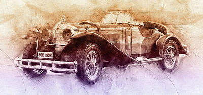 Transportation Mixed Media - Mercedes-Benz SSK 2 - 1928 - Automotive Art - Car Posters by Studio Grafiikka