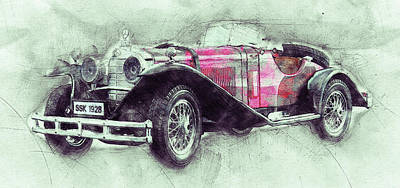 Transportation Mixed Media - Mercedes-Benz SSK 3 - 1928 - Automotive Art - Car Posters by Studio Grafiikka