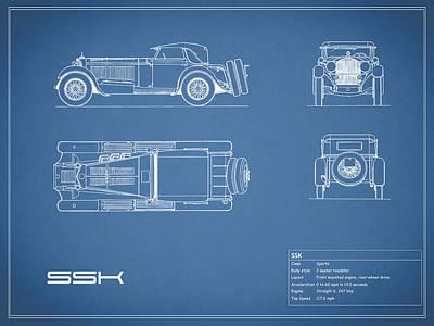 Mercedes Benz Ssk Blueprint Art Print by Mark Rogan