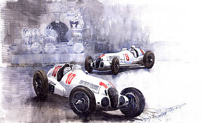 Racing Painting - Mercedes Benz W 125 1938 by Yuriy  Shevchuk