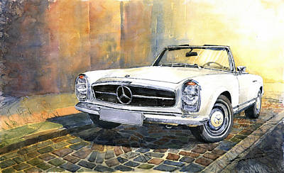 Cars Wall Art - Painting - Mercedes Benz W113 280 Sl Pagoda Front by Yuriy Shevchuk