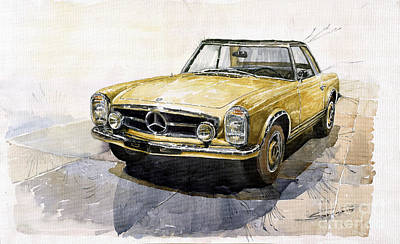 Cars Painting - Mercedes Benz W113 Pagoda by Yuriy  Shevchuk