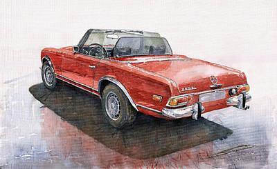 Pagoda Painting - Mercedes Benz W113 Sl280 by Yuriy  Shevchuk