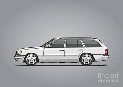 Mercedes Benz W124 T124 300te E-class White Estate Wagon Art Print