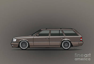 Wagon Mixed Media - Mercedes Benz W124 E-class 300te Wagon - Anthracite Grey by Monkey Crisis On Mars