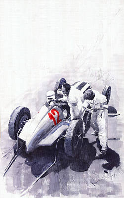 Germany Painting - Mercedes Benz W125 Rudolf Caracciola The German Grand Prix Nurburgring 1937  by Yuriy  Shevchuk