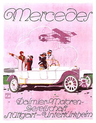 Mixed Media - Mercedes Daimler - Stuttgart - Vintage Automobile Advertising Poster by Studio Grafiikka