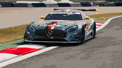 Painting - Mercedes Sls Amg - Trackday by Andrea Mazzocchetti