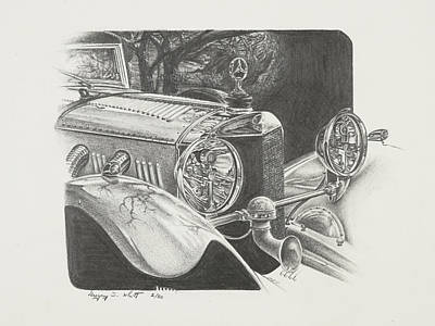 Mercedes Automobile Drawing - Mercedes Ssk by Gregory Whitt