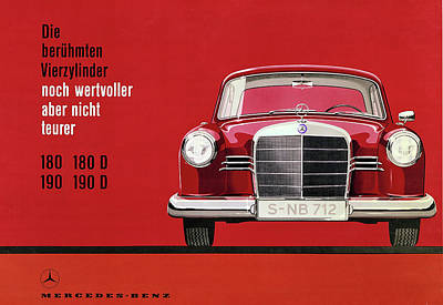 Recently Sold - Transportation Royalty-Free and Rights-Managed Images - Mercedes Vintage Poster - Mercedes Benz - Mercedes Car Print - Car Art - Car Wall Decor - Old Car Ar by Yurdaer Bes