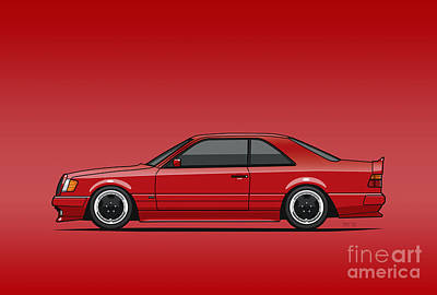 Mercedes W124 300e Red Amg Hammer Widebody Coupe Red Original by Monkey Crisis On Mars