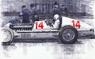 1936 Painting - Mercedes W25c Monaco Gp 1936 Manfred Von Brauchitsch by Yuriy  Shevchuk