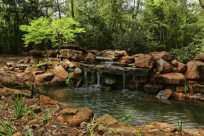 Photograph - Mercer Arboretum Waterfall by Judy Vincent