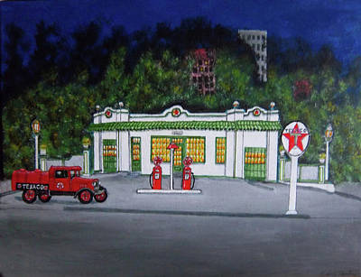 Service Station Painting - Merch Texaco Mansfield by Gordon Wendling