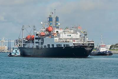 Photograph - Merchant Marine Training Ship Kennedy And Tugboats by Bradford Martin