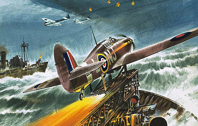 Merchant Navy Fighter Print by Wilf Hardy