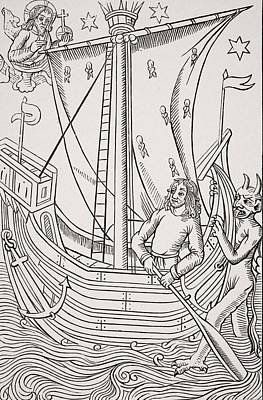 Storm Drawing - Merchant Vessel In A Storm. Facsimile by Vintage Design Pics