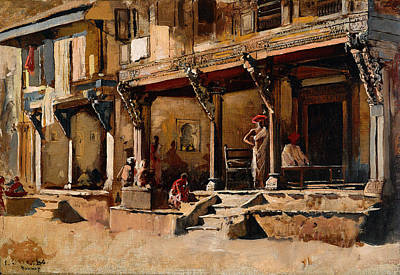 Mumbai Wall Art - Painting - Merchants Along A Street In Bombay by Edwin Lord Weeks