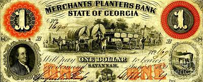 Conestoga Drawing - Merchants Planters Bank State Of Georgia With Cotton Bales 1859 by Peter Gumaer Ogden