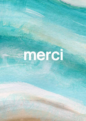 Note Card Painting - Merci- Art By Linda Woods by Linda Woods