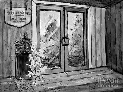 Painting - Mercier Orchard's Cider In Bw by Gretchen Allen