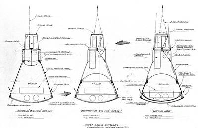 Drawing - Mercury Capsule Sketch by R Muirhead Art
