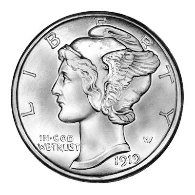 Coin Wall Art - Drawing - Mercury Dime by Greg Joens