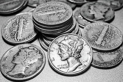 Coin Wall Art - Photograph - Mercury Dimes by Tom Mc Nemar