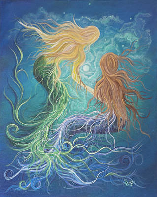 Angel Mermaids Ocean Painting - Merfriends by Angel Fritz
