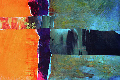Mixed Media - Meridian Abstract Collage by Nancy Merkle